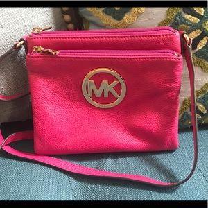Michael Kors small crossbody wallet purse hot pink